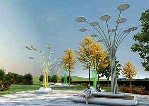 City landscape sculpture public art installation creative design park sketch street lamp rest seat model