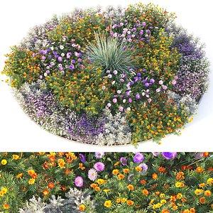 3D flowerbed 4 plants flowers model