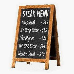 3D menu board pbr low-poly