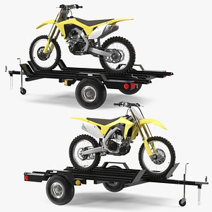 Three Place Motorcycle Trailer with Motorbike 3D model