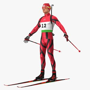 3D Biathlete Fully Equipped Rigged model