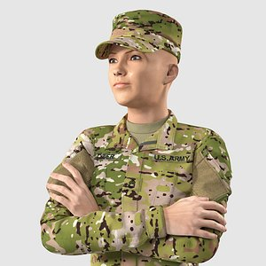 Female US Soldier Camouflage Rigged for Cinema 4D 3D model