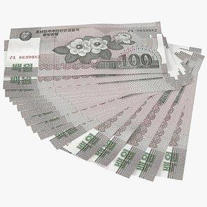 Fan of North Korea 100 Won Banknotes 3D model