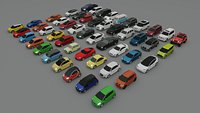 collection of 50 low poly cars