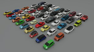 collection of 50 low poly cars 3D model