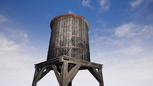 3D old water tank -