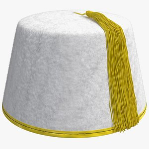 traditional arabic white fez 3D model