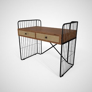 Royner study Table solid wood finish 3D model