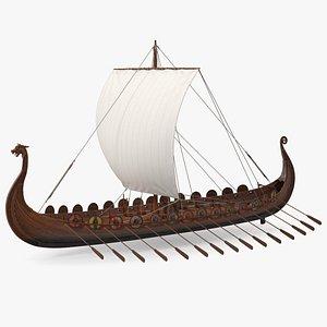 Viking Drakkar Sail Raised model
