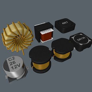electronic inductor component 3D