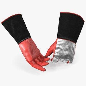 3D Aluminized Heat Reflective Welding Gloves model