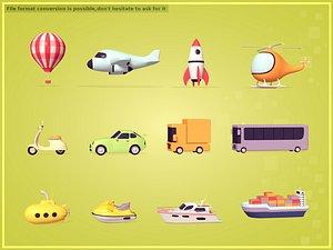 3D cartoon vehicles model