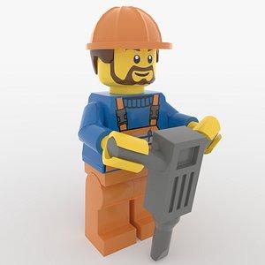 3D Lego Construction Worker