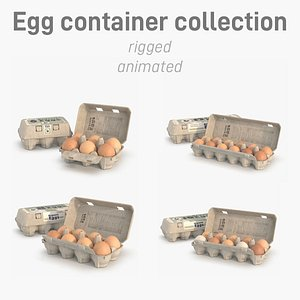 eggs in rigged carton package collection 3D model