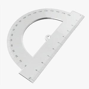 half circle protractor 3D model