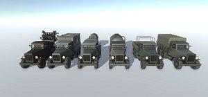 3D Old Military Trucks Set model