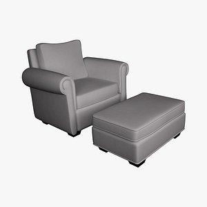 3D chair ottoman style