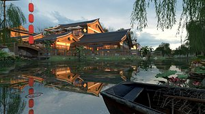 3D Ancient building folk house resort emblematic building Ming and Qing dynasties built lakes