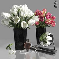 Bouquets of white and pink tulips