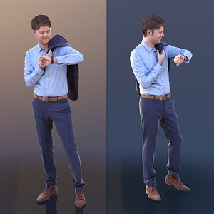 3D 10314 John - Business Man Carrying His Jacket And Checking His Watch model