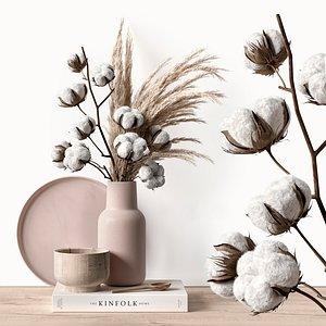Decorative set with dry plants 5 3D model