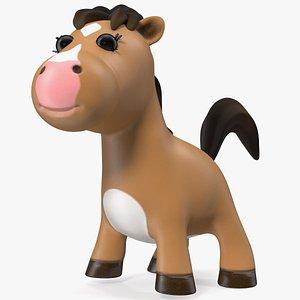 Brown Cartoon Horse Rigged 3D model