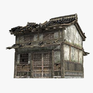 3D A two-story house in ancient Asia