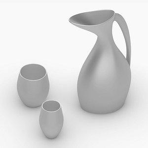 metal pitcher glasses 3D