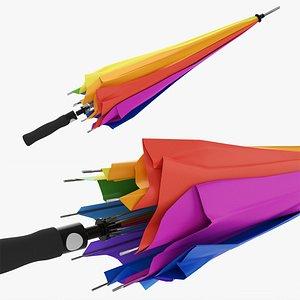 3D model Large automatic umbrella folded colorful