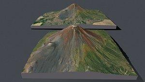 3D model Mountain landscape stratovolcano Fujiyama 3776m Honshu Japan