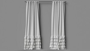 3D decoration curtains fabric model