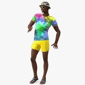 Light Skin Teenager Beach Style Standing Pose 3D model