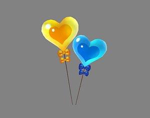 3D Cartoon love balloon - a heart-shaped balloon