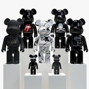 3D black bearbrick model