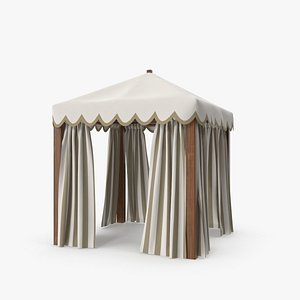 Wood Outdoor Tent with Curtains 3D model