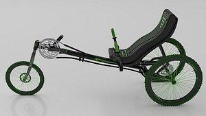 3D Dark Green Trike Bike model