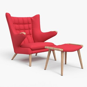 3D Papa Bear Chair And Ottoman Red