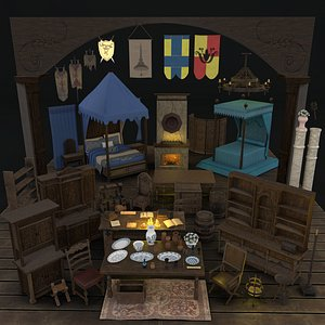 medieval props package interior room 3D model