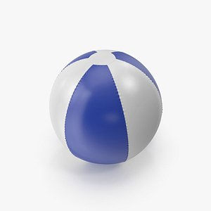 3D Blue and White Inflatable Beach Ball