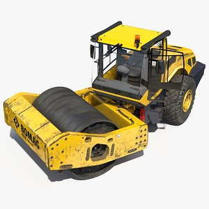 3D BOMAG BW226 DH5 Single Drum Compactor Dirty Rigged model
