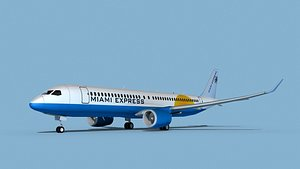 3D model Airbus A220-300 Miami Express Charter