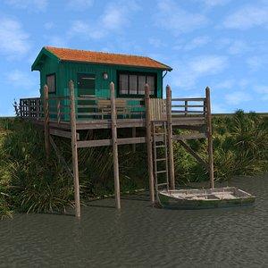 Turquoise Fishing Hut 3D model