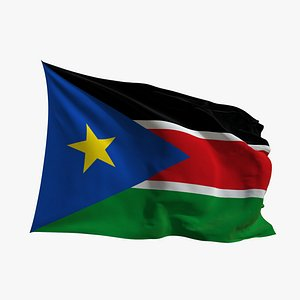 3D Realistic Animated Flag - Microtexture Rigged - Put your own texture - Def South Sudan