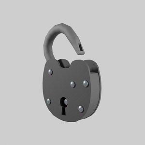 Metal Padlock with Keyhole 3D
