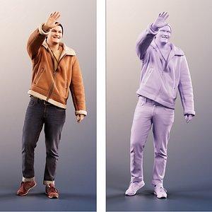 man waving 3D model