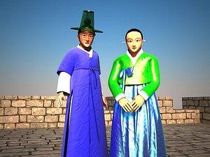people korean hanbok 3D model