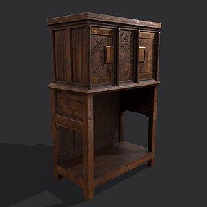 3D Medieval Elegant Designed Dresser