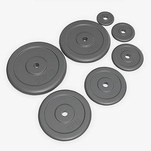 set weight barbell 3D model