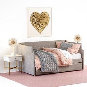 annika upholstered daybed trundle 3D model
