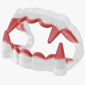 Plastic Vampire Teeth Red 3D model